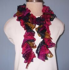 """New Hand Crochet Silver Sparkle Burgundy Navy Gold Twisted Ruffled Scarf 46"""" L"""
