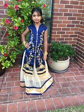 "28"" Age 6 7 Size Lehenga Choli Indian Bollywood Kids Dress Girls Skirt Blue Gold"