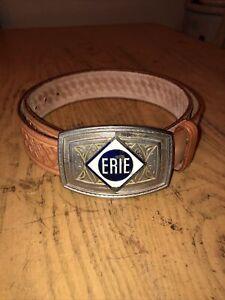 Vintage Hand Tooled Western Looper LEATHER BELT Sz 36 Erie Metal Buckle