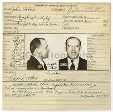 Police Booking Sheet - John Poblic - Ohio, w/Mugshots, Fingerprints 1927