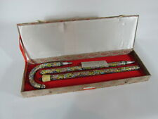 """Cloisonne Walking Cane w/ Presentation Box Chinese 35"""" Gold Background Floral"""