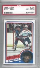 1984 Topps hockey card #107 Barry Beck, New York Rangers graded PSA 8