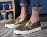 Gold Pumps Mens Flat Skateboard Sneakers Slip On Loafer Comfort Casual Shoes