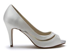 Rainbow Club Eloisa - Ivory Satin & PVC Wedding Peep Toe Bridal Womens Shoes