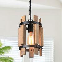 Wood Pendant Light Chandelier Lamp Farmhouse Hanging Ceiling Light Fixture