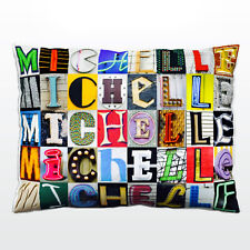 Personalized Pillow featuring the name MICHELLE in photos of sign letters