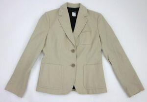 NEW! Never Worn! J. Crew Petite Size 4 Brushed Cotton Khaki Two Button Blazer