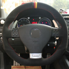 DIY Steering Wheel Cover Black Seude Hand Sewing For VW Golf 5 Mk5 GTI R32 GT 05