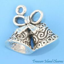 WEDDING BELLS TIED with BOW 3D .925 Solid Sterling Silver Charm