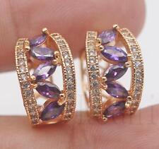 18K Gold Filled - Tiger Eye Hollow Amethyst Topaz Siamese Wedding Hoop Earrings