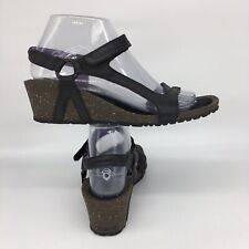 Teva Sandal Size 8 Cabrillo Womens Black Leather Wedge Shoes 1002370