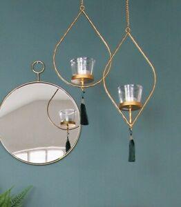 Diamond Shape Tea Light Candle Holder, Hanging Rose Gold Wire w/ Tassel