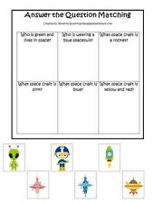 Space themed Answer the Question laminated preschool game. 1 board, 6 pieces