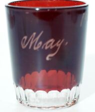 EAPG Unknown Maker  Ruby Stained Souvenir Tumbler - 18 Flutes