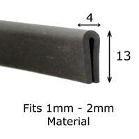 Medium Rubber U Channel Edging Trim Seal 1mm - 2mm