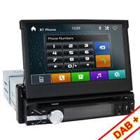 "Single 1 Din GPS sat Car Stereo Radio DVD Player Bluetooth 7"" Touch Screen AU HD"