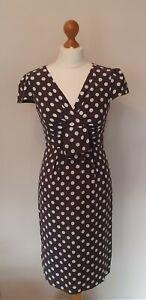 Rocha John Rocha Size 8 Taupe Polka Dot Wiggle Dress Vintage Look Races Wedding