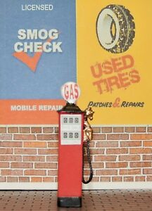 Two VINTAGE 2 1/4'' high gas station pump (O)SCALE 20'S....30'S STYLE  DIORAMA