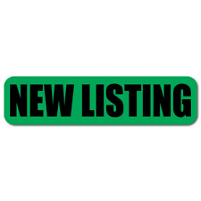 """2"""" x 0.5"""" New Listing, Green Background, Roll of 1,000 Stickers"""