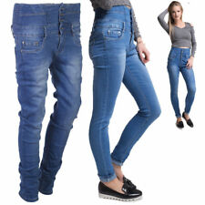Women's Ladies Girls High Waited 4 Button Stretchy Denim Jeans Slim Fit Trousers
