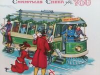 Vtg LADY Drops Packages Boarding TROLLEY CAR MID CENTURY CHRISTMAS GREETING CARD