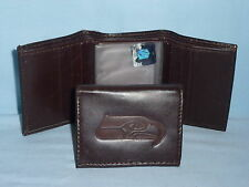 SEATTLE SEAHAWKS    Leather TriFold Wallet    NEW    dark 3v