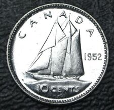 OLD CANADIAN COIN 1952 - 10 CENTS - .800 SILVER - George VI  - Nice