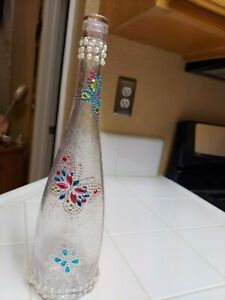 Hand Painted Beautiful Wine Rose Bottle, With Butterflies and accessories