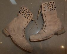 STUDDED All Saints STONE SUEDE LEATHER STUD MILITARY WINTER BOOTS SIZE 6