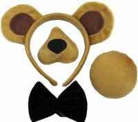 Bristol Novelty DS146 Bear Ears, Nose, Tail and Bow Tie Costume Set, Brown, One