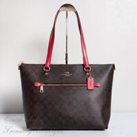 NWT Coach F79609 Gallery Tote in Signature Canvas Brown Red