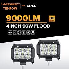 "2X Tri Row 90W 4inch CREE LED Work Light Bar FLOOD For Jeep Wrangler JK TJ YJ 5"""