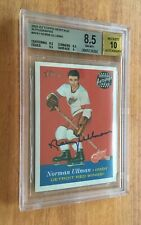 2001-02 TOPPS HERITAGE NORM ULLMAN CERTIFIED AUTOGRAPH RED WINGS 8.5 BGS