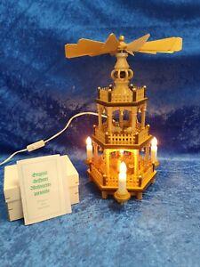 Seiffen Flath Erzgebirge Weihnachtspyramide Pyramide elektrisch 3 Etagen #1011