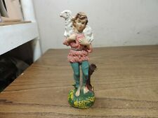 "Vintage Shepherd Boy Carrying Lamb Nativity Figurine Paper Mache Italy 5"" #2"