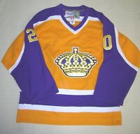 CCM XL 50 NHL LOS ANGELES KINGS LUC ROBITAILLE #20 PURPLE & GOLD HOCKEY JERSEY