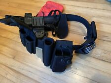 New listing Black Leather Police Duty Belt Blockers holster, radio caddy Authentic Cuff In