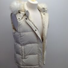 Gap Women's Vest Medium Puffer Ivory Removeable Faux Fur Collar Winter Hooded