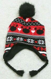 Disney Minnie Mouse Beanie Girls Children Kids Hat Cap Black Red White Acrylic