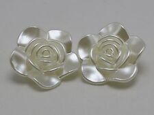10 Large Ivory Acrylic Pearl Rose Flower Beads Cabochons 33mm 3-Hole Button Bead