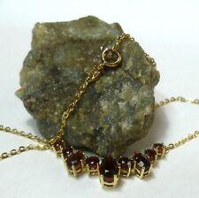 8K 333 Oro Collar con Granate Piedras Oro Colgante