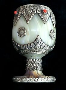 Amazing Vintage Marble Flower Sterling Silver Red Coral Wine Glass
