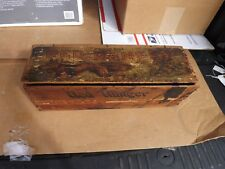 """RARE Vintage Red Ranger Wooden Cigar Box FOX Graphics 3 for 5 Cents 16"""" x 5"""""""