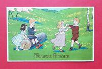 Künstler Glückwunsch AK PFINGSTEN 1913 Junge mit Flöte Kinder Reigen  ( 37958