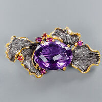 Amethyst Brooch Silver 925 Sterling Natural 50ct IF Quality AAA /NB08366