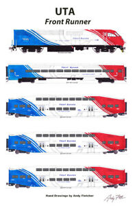 """UTA Utah Transit Authority Commuter Train 11""""x17"""" Poster by Andy Fletcher signed"""