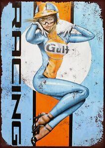 Gulf racing metal wall sign