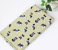 Bull terrier dog 100% Cotton Fabric BY HALF YARD mint beige dogs puppy JC8/49+