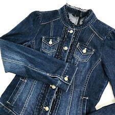 White House Black Market Denim Jean Jacket Sz 4 Shiny Buttons & Ruffles