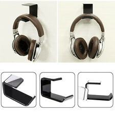 1x Acrylic Headphone Stand Hanger Hook Tape Under Desk Dual Headset Mount_GG